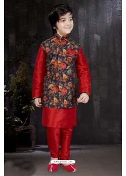 Adorable Red Art Dupion Kurta Pajama