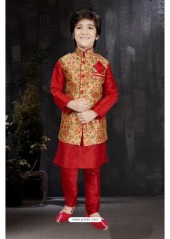Trendy Red Art Dupion Kurta Pajama