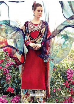 Red Resham Work Pakistani Suit