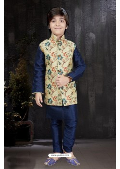 Superb Navy Blue Art Dupion Kurta Pajama