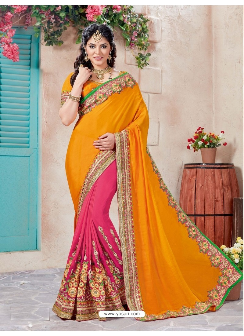 9eed866297d4f4 Buy Awesome Orange Crepe Chiffon Embroidered Saree | Designer Sarees