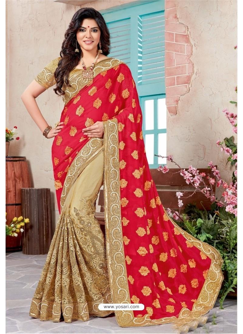 82a9f74399 Buy Designer Golden Jacquard Embroidered Saree | Designer Sarees