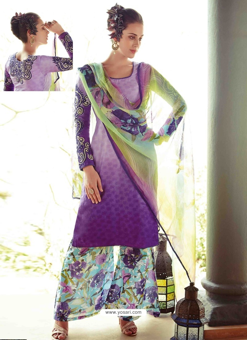 Purple Resham Work Pakistani Suit