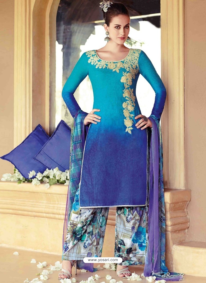 Sky Blue Resham Work Pakistani Suit