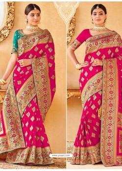 Affectionate Pink Silk Embroidered Saree