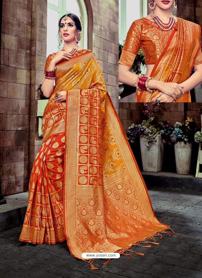 bc30991774 Buy Adorable Orange Banarasi Silk Saree | Designer Sarees
