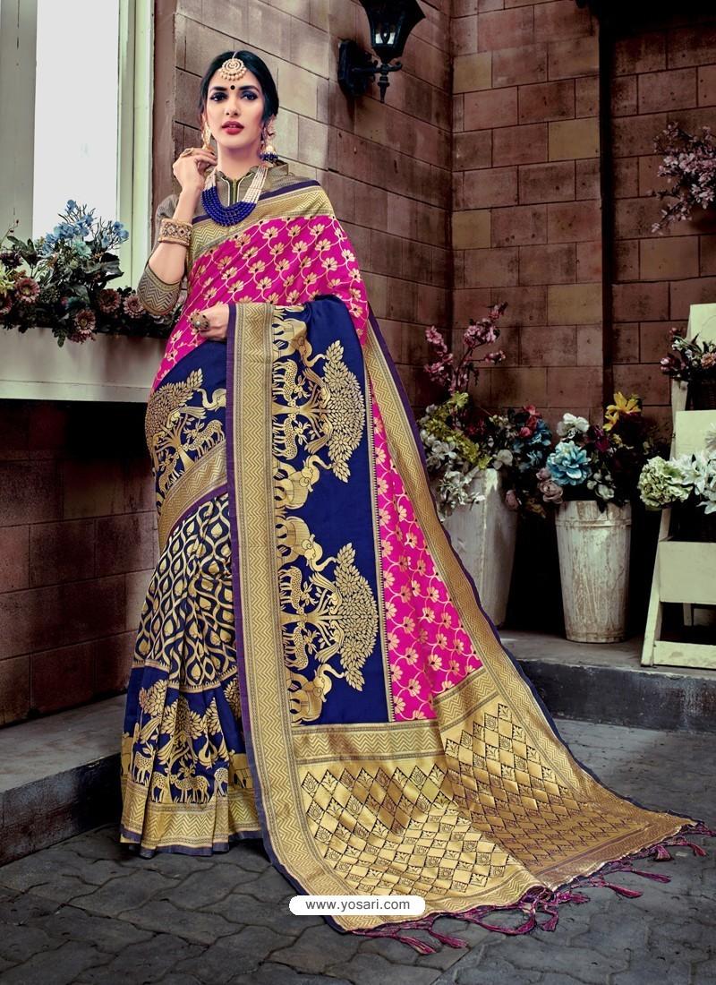 920cddb178 Buy Traditional Blue Banarasi Silk Jacquard Saree   Designer Sarees