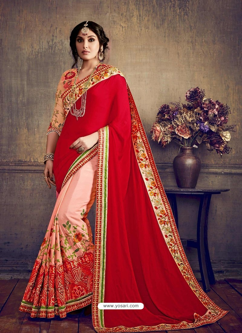 8d5ca490a1 Buy Traditional Pink Georgette Embroidered Saree | Designer Sarees