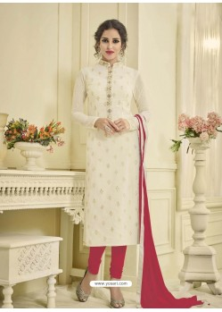 Beautiful White Georgette Embroidery Suit