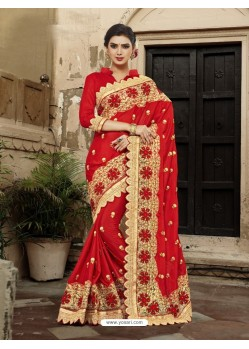 Traditional Red Georgette Embroidered Saree