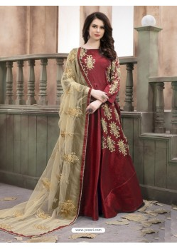 Gorgeous Maroon Silk Embroidered Georgette Suit