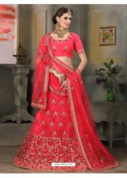 Splendid Pink Embroidered Banglori Silk Lehenga Choli