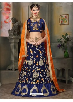 Superb Navy Blue Embroidered Lehenga Choli