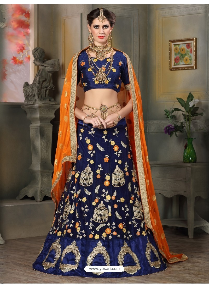 93cc36d98f Buy Superb Navy Blue Embroidered Lehenga Choli | Designer Lehenga Choli