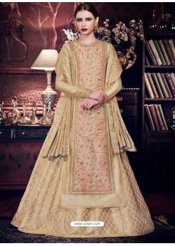 Adorable Beige Handloom Silk Floor Length Suit