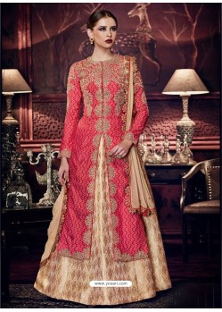 Gorgeous Pink Embroidered Silk Floor Length Suit