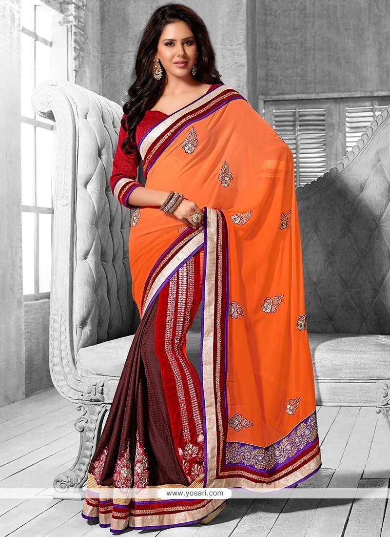 Multicolor Jacquard Embroidered Half And Half Saree