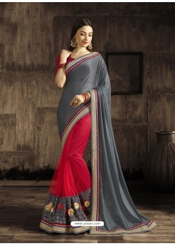 Traditional Red Georgette Saree