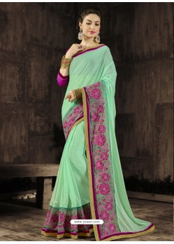 Awesome Teal Georgette Saree
