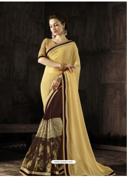 Affectionate Brown Georgette Embroidered Saree