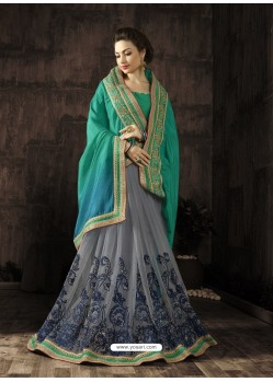 Designer Grey Embroidered Saree