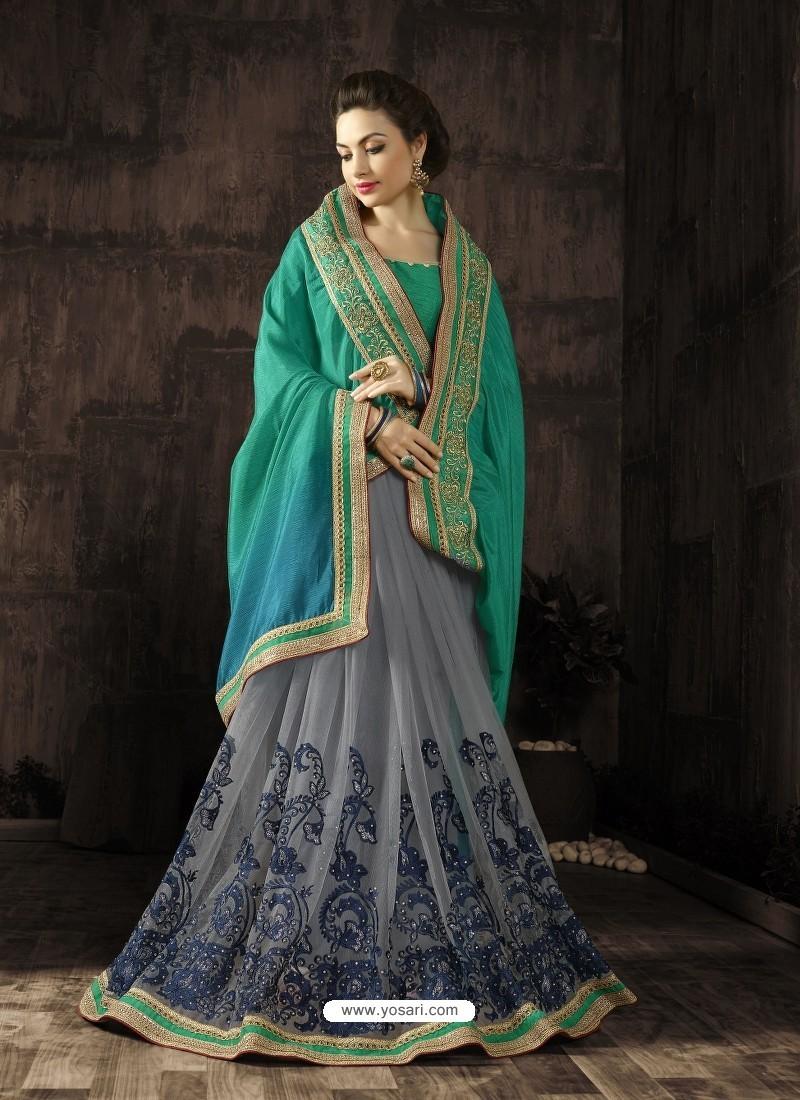 Designer Grey Embroidered Saree