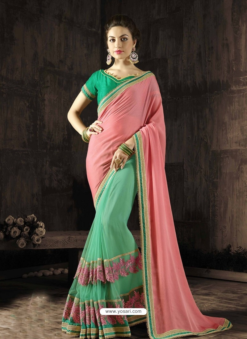 Marvelous Green Embroidered Saree