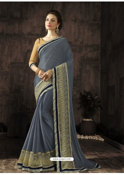 Traditional Grey Embroidered Saree