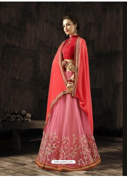 Adorable Peach Embroidered Saree
