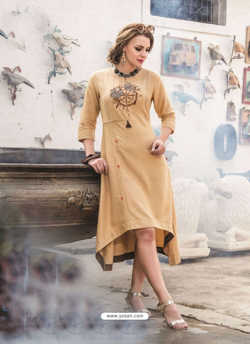 Adorable Beige Embroidered Kurti