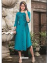 Awesome Teal Embroidered Kurti