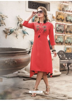 Adorable Peach Embroidered Kurti
