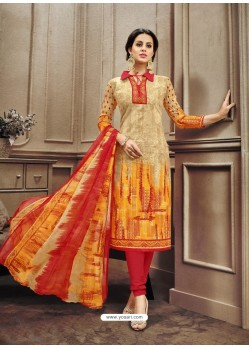 Beautiful Orange Cotton Print Suit