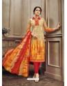 Beautiful Orange Cotton Print Suit