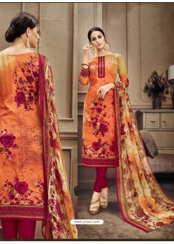 Orange Designer Cotton Suit