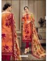 Orange Designer Cotton Suit