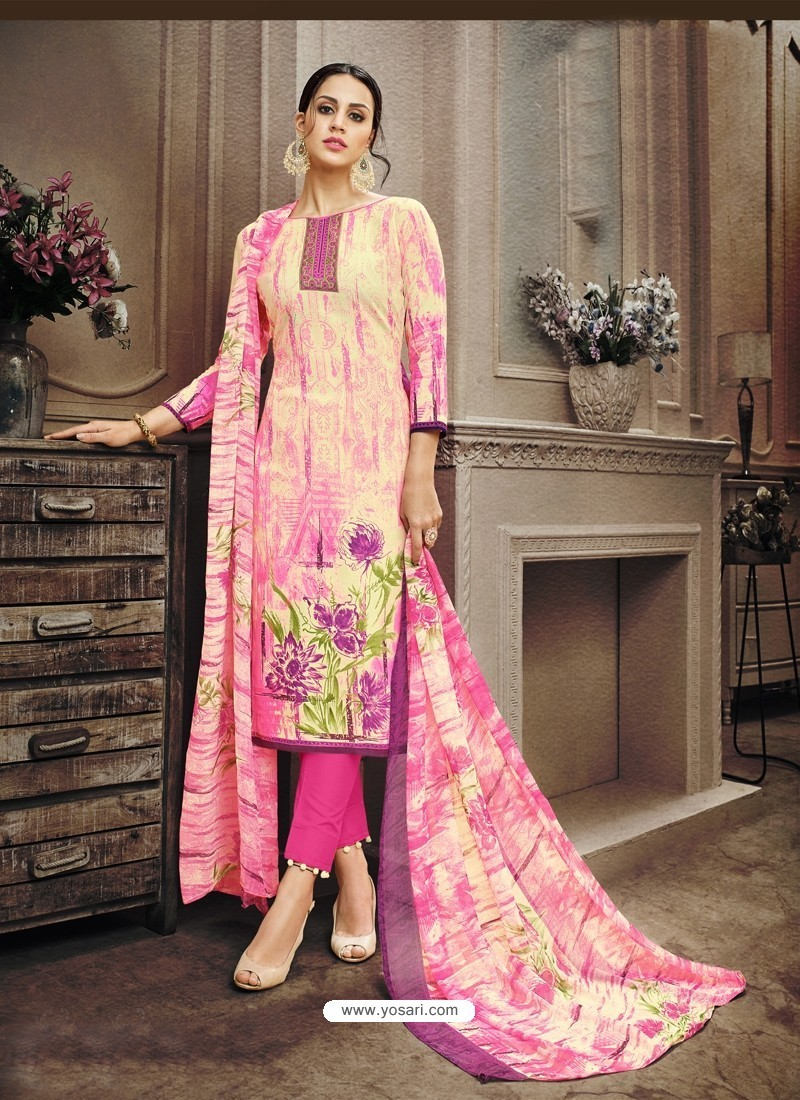 Stylish Cotton Pink Suit