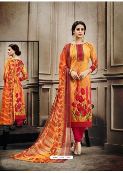 Impressive Orange Cotton Print Suit