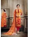 Impressive Orange Cotton Print Suit