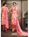 Astonishing Red Cotton Printed Suit