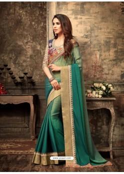 Traditional Green Crepe Silk Saree