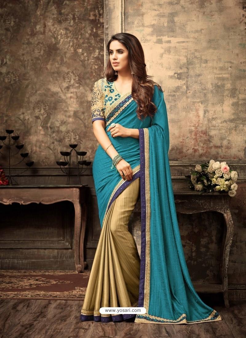 Designer Golden Crepe Silk Saree