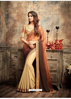 Traditional Brown Georgette Saree