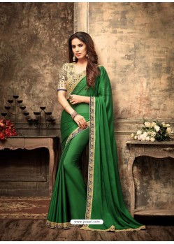 Affectionate Green Georgette Saree