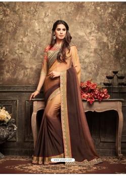 Designer Brown Crepe Silk Embroidered Saree