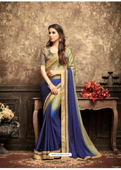 Classic Blue Georgette Embroidered Saree