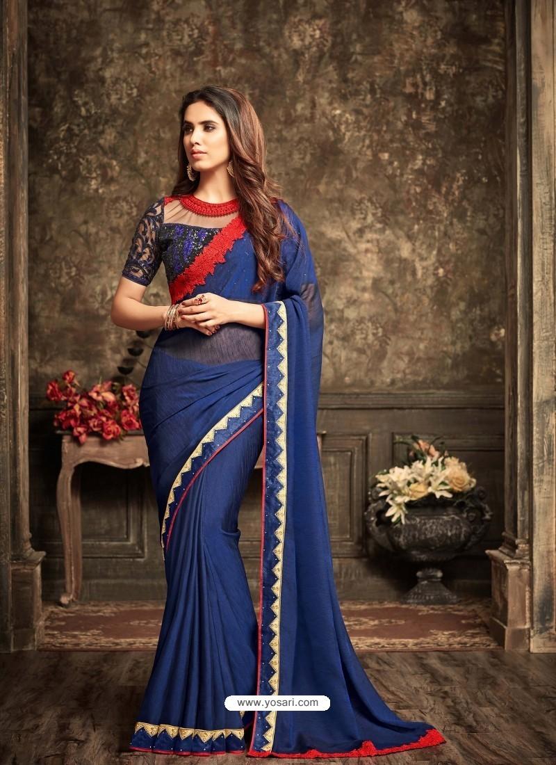 Adorable Blue Crepe Silk Saree