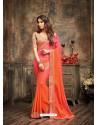 Designer Peach Crepe Silk Saree