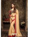 Designer Beige Crepe Silk Saree