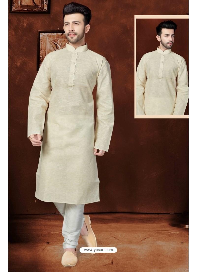 Adorable Cream Cotton Kurta Pajama